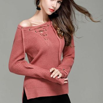 Mix Wind Knitted Winter Sweater Women  Jumper Women's Fashion Novelties V Neck Pullover Sexy Casual Winter Sweaters