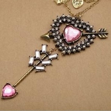 Long Dramatic Pink Heart Arrow Rhinestone Necklace