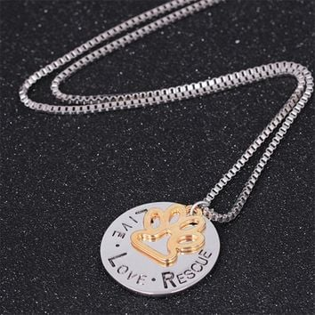 Gold color Hot 2017 Necklaces Vintage Women Girl Round Letter Dog Claws Choker Card Pet Necklace Jewelry Gift Dropshipping AG22