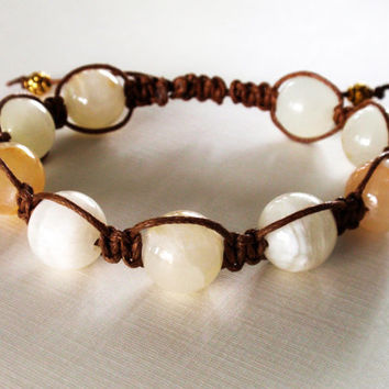 Handmade Shambhala. Natural Gemstone White Onyx Beaded Bracelet. Tibetan Antique Healing Artisan Jewelry By Three Snails Free Shipping!