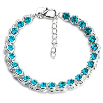Teenager Friendship  11 Different Color Crystals  to choose From  Silver Plated Bracelets