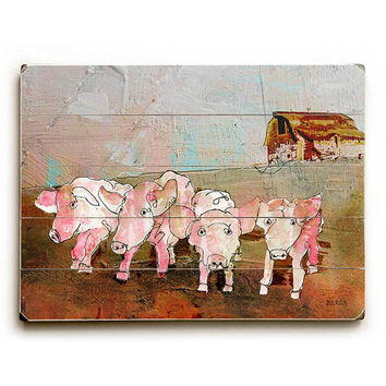 Four Little Pigs by Artist John Baran Wood Sign