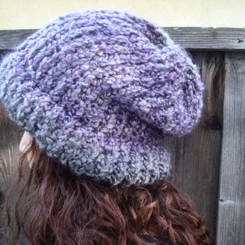 Big Slouch Beanie, Purple and Gray Knit Hat, Shades of Lavender Hand Knit Beanie, Winter Hat, Violet and Gray Color Cap, Slouch Hat