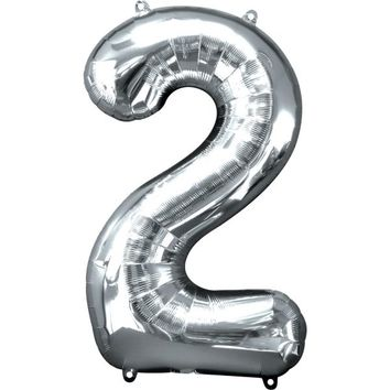 Number 2 Balloon - Silver
