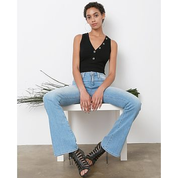 Style High Flare Denim Jeans - Light Blue