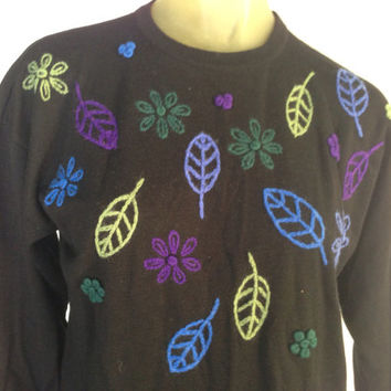 Liz Claiborne Wool Sweater with Soft textured leaves and flowers in shades of Blue, Green, Purple yarn. Holiday winter long sleeve. S/M