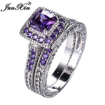 JUNXIN Elegant Amethyst Ring Set White Gold Filled Wedding Engagement Rings For Women Top Fashion Jewelry Bridal Sets