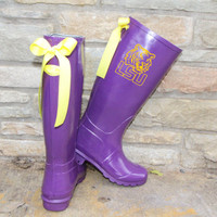 LSU Game Day Purple Rain Boots with Yellow Bows