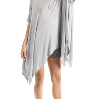 ASYMMETRICAL OVERSIZE TUNIC - HEATHER GREY