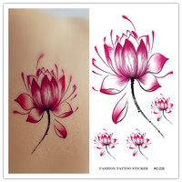 RC2228 New 2015 Waterproof Disposable Tattoo Stickers Fresh Water Lily Flower Floral Pattern Temporary Tattoo Sticker for Women