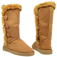 Womens Mid Calf Boots Faux Fur Trim Side Button Pull On Comfort Shoes Tan SZ 6