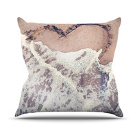 "Nastasia Cook ""Heart in the Sand"" Beach Throw Pillow"