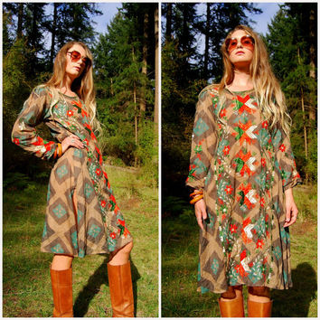 70s Ethnic Embroidered Dress, Rayon Gauze Indian Dress, Long Sleeve Mirrored Native Midi Dress Hippie Tunic Caftan Green Orange Floral Batik