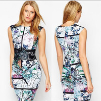 Sexy Digital Print Sleeveless Bodycon A-line Scoop Knee-length Dress