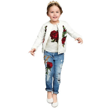 New Brand Fashion Rose Girls Clothes 3pcs 2-9Y Kids Clothes Girls long sleeves flower Clothing set