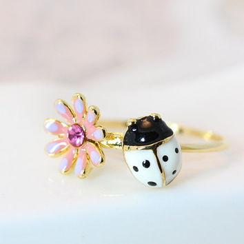 Floral Ladybug Ring Flower Crystal Ring Gold Plated Jewelry gift idea 6US size Gift Idea