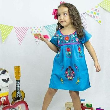 Mexican Dress for Girls Turquoise