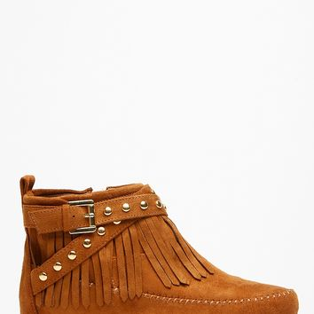 Soda Fringe Gold Accent Tan Moccasin Ankle Boots @ Cicihot Boots Catalog:women's winter boots,leather thigh high boots,black platform knee high boots,over the knee boots,Go Go boots,cowgirl boots,gladiator boots,womens dress boots,skirt boots.