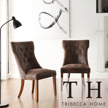 TRIBECCA HOME Atelier Traditional French Burnished Brown Oak Dining Chair (Set of 2)