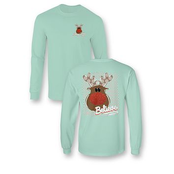 Sassy Frass Comfort Colors Believe Rudolph Christmas Long Sleeve Bright Girlie T Shirt