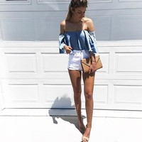 MY GIRL OFF THE SHOULDER BLOUSE - DENIM BLUE