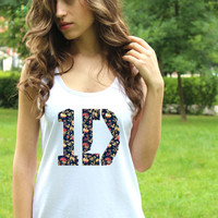 One Direction Tank Top Logo 2 Tee 1D Shirt Pop Rock Women Shirt White Harry Style Lady Tank Tops Lady Fit Valueweight Vest Crop Top T Shirt