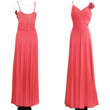 vintage 30s/40s gown / great gatsby gown / old Hollywood glam / Hollywood regency gown / vintage evening gown / crepe coral gown