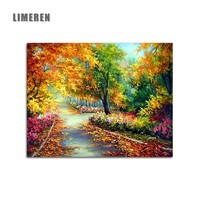 DIY Coloring Picture Oil Painting By Numbers Forest Trail Landscape Calligraphy Canvas Unframed For Living Room Drawing Wall Art
