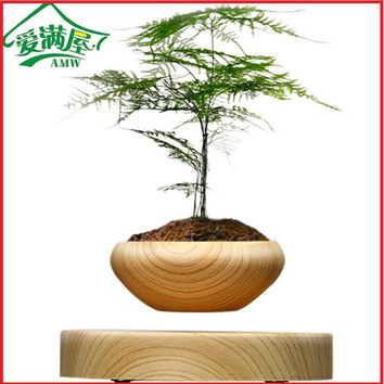 AMW Magnetic Suspended Potted Plant Wood Grain Round LED Levitating Indoor Air Plant Pot for Home and Office Decoration No Plant
