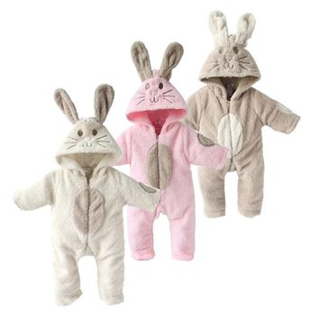2018 soft Baby Clothes Cute Animal rabbit One Piece Long Sleeve fleece Newborn Baby Romper Baby Costume Clothing Clothes
