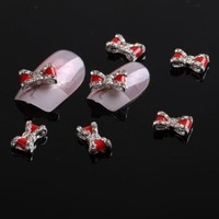 350buy 50 x Special Red Bow Tie Alloy 3D Rhinestone Nail Art Slices DIY Decorations Plus 5pcs Blue 2 Way Double Ended Nail Art Manicure Pedicure Dot Paint Dotting Painting Marbleizing Pen Tool