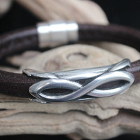 Dark Brown Bangle Dark Brown Leather Bangle Brown Leather Bracelet Statement Bangle Silver Infinity Tube Focal Silver Magnetic Clasp