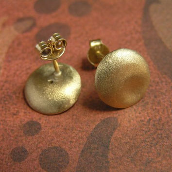 Gold Stud Earrings - Puffy Round Stud Earrings - 14k Gold - Solid Gold