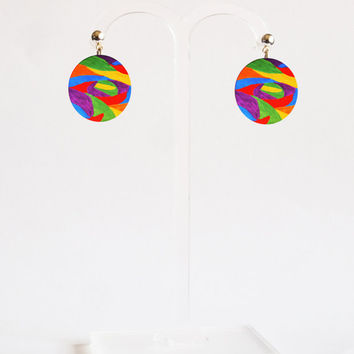Metal Earrings - FREE shipping to USA stud dangle earrings dye sublimation abstract art painting small dangle earrings round earring crircle