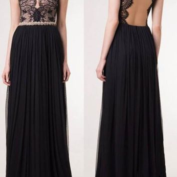 Black Lace Pleated Backless Bodycon Deep V-neck Banquet Wedding Bridesmaid Prom Gowns Elegant Maxi Dress