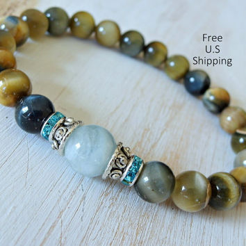 Amazing Golden/Blue Tiger eye bracelet, Aquamarine bracelet, Blue Tiger eye, Yoga, energy bracelet, wrist mala, buddhist, prayer beads