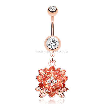 Rose Gold Divine Lotus Belly Button Ring (Clear)