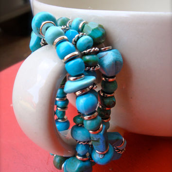 Turquoise Beaded Stretchy Wrap Bracelet for Women