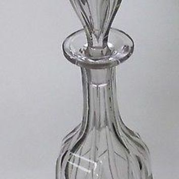 Hand Cut glass  decanter fluting and miter cut antique