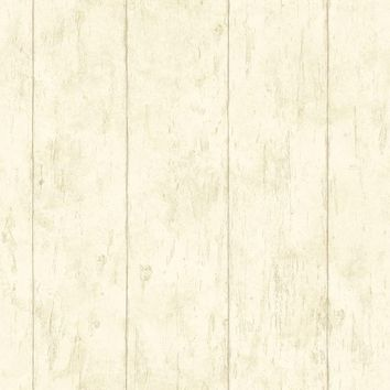 Brewster Wallpaper CCB02181 Reclaimed Cottage Cream Wood