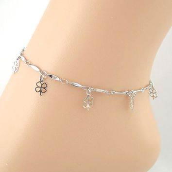 Lines Hollow Clover Anklet Bracelet Sandal Barefoot Beach Foot Jewelry