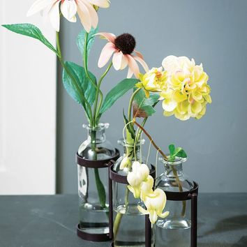 """Metal Plant Stand with Clear Glass Bottle Vases - 6.5"""" Tall x 10"""" Long"""