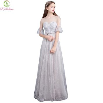 Fashion New Banquet Elegant Grey Lace Evening Dress The Bride Sweet Floor-length Formal Party Gown Custom Size