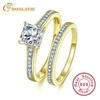 Brand White Cubic Zirconia Stone Wedding Couple Rings Gold Covered Real 925 Sterling Silver Engagement Ring Sets for Lovers