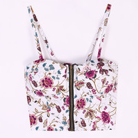 Floral Print Zipper Strap Crop Tank Top