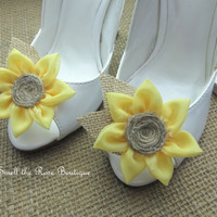 Rustic Sunflower Wedding Shoe Clips,Bride-Bridesmaid-FlowerGirl Shoe Clips,Woodland Wedding Accessories