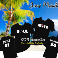 Disney Honeymoon Just Married Shirts, Mr. & Mrs Shirts Personalized, Soul Mate Tees, Vacation Family Shirts