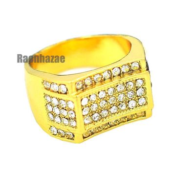 MENS HIP HOP RAPPER CHUNKY MICRO PAVE 14K GOLD PLATED RING SIZE 7 - 12 N011G