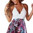 Sexy Womens V Neck Lace Sleeveless Bodycon Jumpsuit Romper Trousers Clubwear S