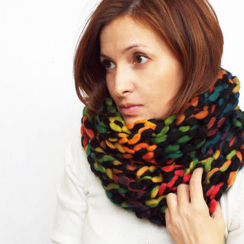 Warm infinity arm knitted cowl. Chunky winter scarf. Multicolor infinity scarf.